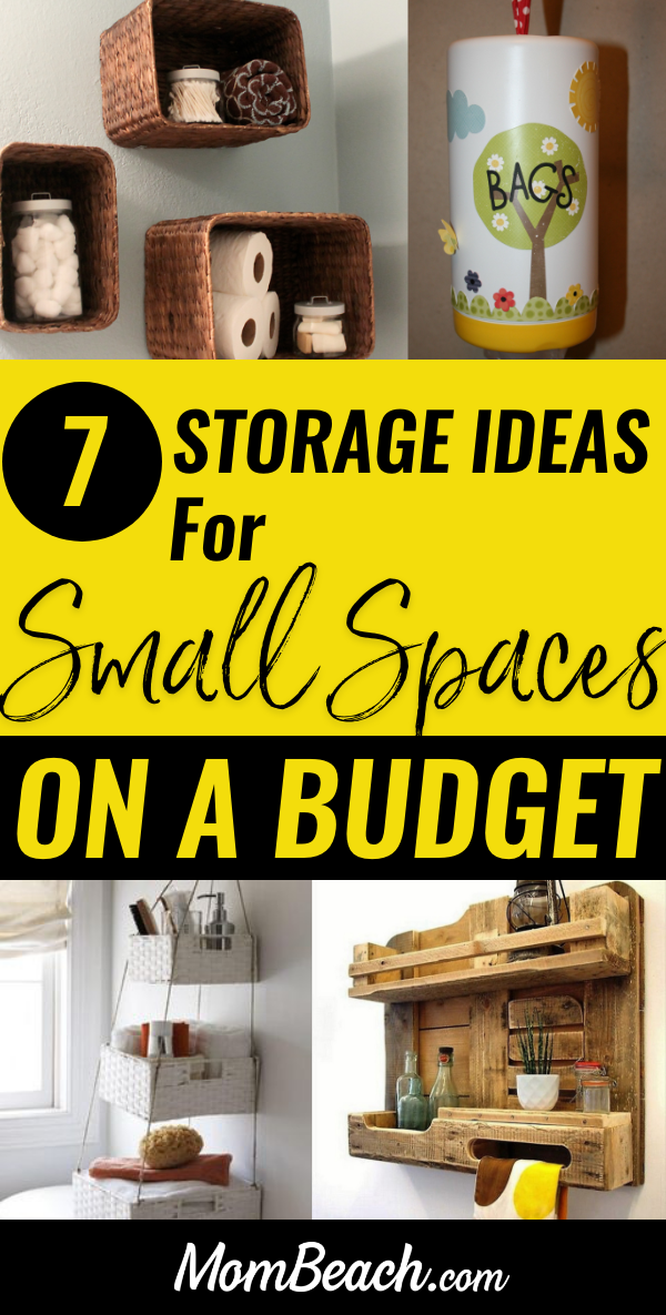 You won't believe these 7 awesome storage ideas for small spaces on a budget! They are all so helpful and inspiring! You can get your small space organized quickly with these simple and easy ideas to help you maximize your space. Use baskets, pallets, wipe containers and more! These storage ideas for small spaces are great for an apartment, or tiny houses. #storageideasforsmallspaces #organizationideas #storageideas #tinyhousestorageideas #apartmentstorageideas #organzation #storagebaskets