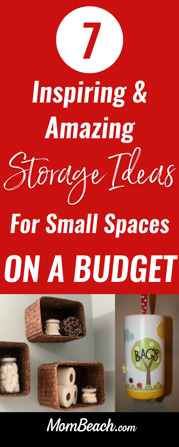 These 7 amazing ideas are super awesome to help you get maximize storage on a budget. They are all so helpful and inspiring! You can get your small space organized quickly with these simple and easy ideas to help you maximize your space. Use baskets, pallets, wipe containers and more! These storage ideas for small spaces are great for an apartment, or tiny houses. #storageideasforsmallspaces #organizationideas #storageideas #tinyhousestorageideas #apartmentstorageideas #organzation #storagebaskets