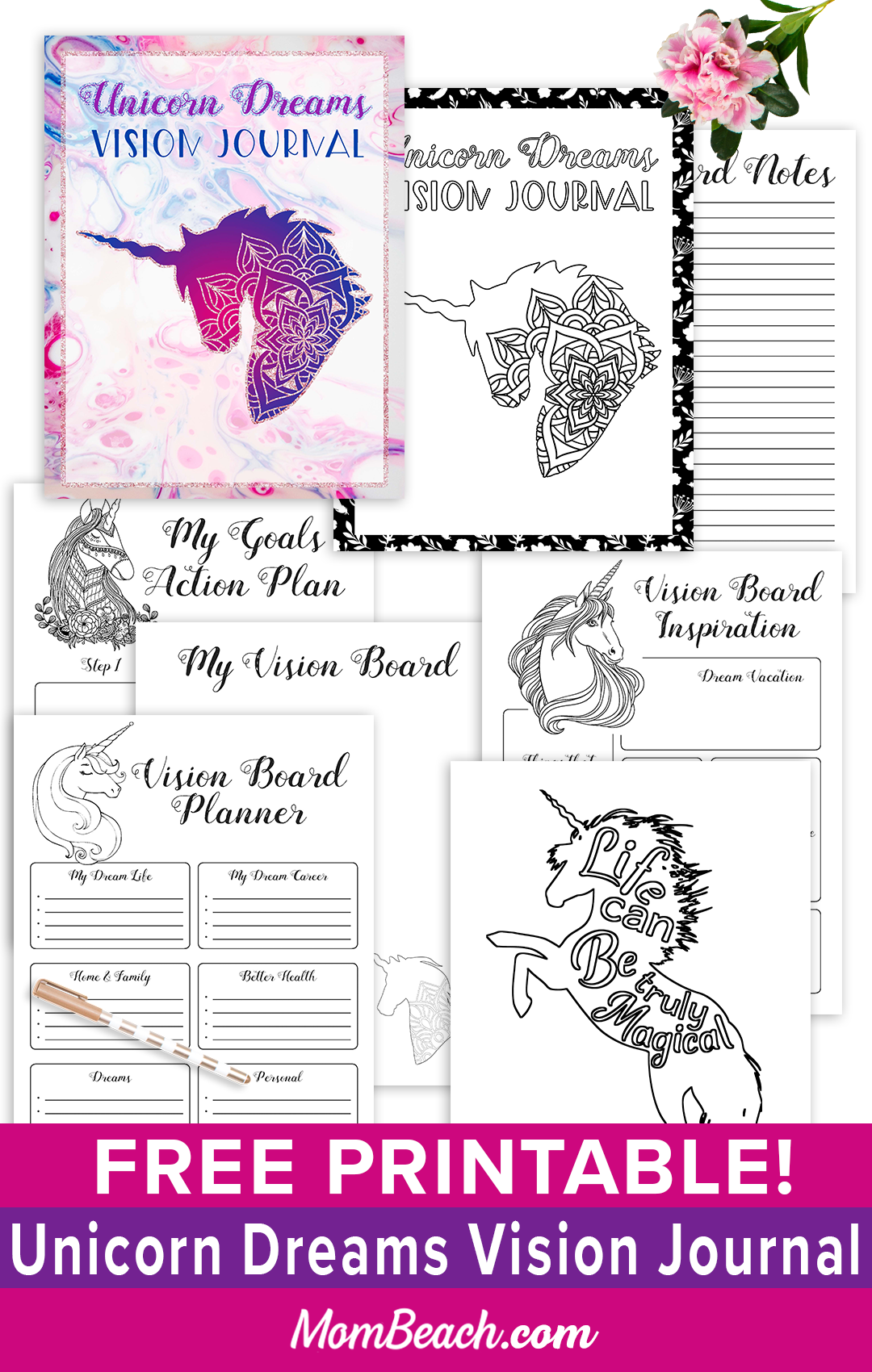 You won't believe how fun this free printable Unicorn Dreams Vision Journal is! It has 15 pages and is a fun coloring book to help spark your creativity! You'll love this free printable journal that also has a planner page. There are even 3 motivational quotes coloring pages. Free printable journals and free printable planners are so much fun! #freeprintables #freeprintablejournal #freeprintableplanner #freecoloringbook #freeprintable #unicornprintable #unicorn