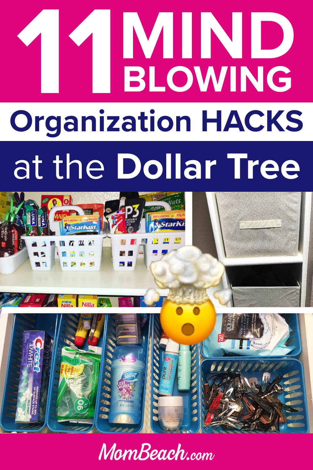 These Dollar Tree organization hacks are perfect for the kitchen, bathroom, bedroom, closet, pantry, kids are more! This is a 100% original content post. Get your home organized and save money today with containers from the dollar store. #dollartreeorganization #dollartreeorganizationideas #organizationideas #kitchenorganization #bathroomorganization #bedroomorganization #closetorganization #pantryorganization